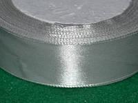 Лента атласная 25 мм ( 23 метра) светло-серая 16326
