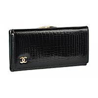 Модный женский кожаный кошелек с внешней рамкой черного цвета