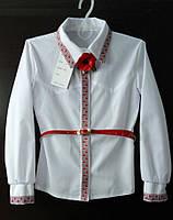 Блузка с вышивкой. Школьная, девичья. Размеры 128-152.