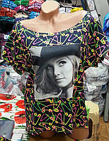 Красивая женская футболка удлинённая сзади с принтом и фото