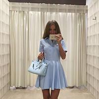 Платье с рубашечным воротником и юбкой-клеш