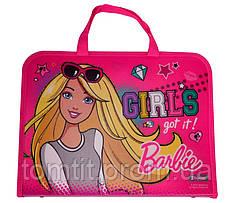 Портфель пластиковый «Barbie (Барби)», на молнии с тканевыми ручками, формат А-4