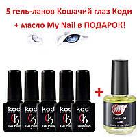 Набор гель-лаков кошачий глаз Коди 5шт, 7мл + масло My nail в подарок