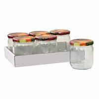 292123 Банки для консервации с самоклеющейся этикеткой и крышкой,  440мл, упаковка 6шт  (axentia)