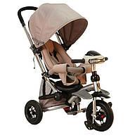 Детский трехколесный велосипед-коляска Crosser T350 надувные колеса Бежевый