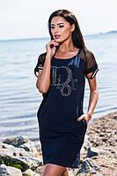 Хлопковое тёмно синее платье с кармашиками и принтом, батальное. Арт-5677/57