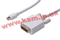 Кабель DIGITUS miniDisplayPort to DVI(24+1)(AM/ AM) 3.0m, white (AK-340305-030-W)