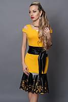 Летнее желтое платье вставка из кожи