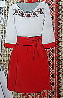 Женский костюм с красной юбкой (заготовка на габардине), 44-56 р-ры, 375/345 (цена за 1 шт. +30 гр.)