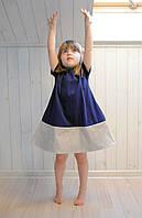 Стильное трикотажное платье. Темно-синий с бежем. Рост 80, 86, 98 см, фото 1