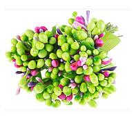 Тычинки Салатово-разноцветные с листиками 24 шт/уп на проволоке, фото 1