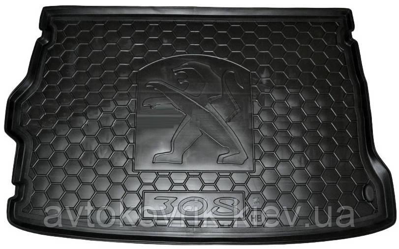 Полиуретановый коврик в багажник Peugeot 308 II 2014- хетчбэк (AVTO-GUMM)