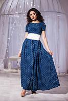 Модное синее платье в пол с орнаментом и кармашиками. Арт-5680/57