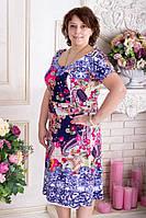 Платье летнее больших размеров с вырезами на рукавах р.52-56