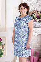 Платье летнее прямое  с треугольным вырезом сзади большого размера р.52-56