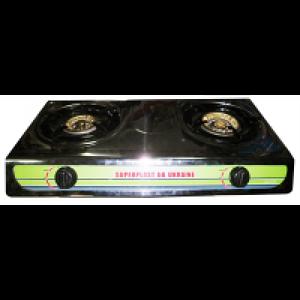 Настольная газовая плита, таганок МРИЯ - 2 На две конфорки , нержавеющая поверхность , с пьезо розжигом .