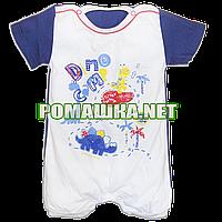 Детский песочник-футболка р. 74 ткань КУЛИР-ПИНЬЕ 100% тонкий хлопок ТМ Беби лайф 3127 Синий