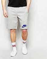 Шорты Nike серые лого+галочка синий