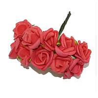 Розы Красные из фоамирана (латекса) на проволоке 2 см 10 шт/уп