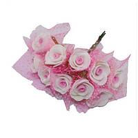 Розочки с фатином Розовые из фоамирана (латекса) на проволоке 2 см 10 шт/уп