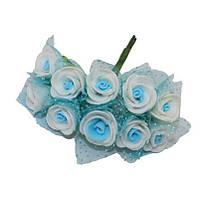 Розочки с фатином Бело-голубые из фоамирана (латекса) на проволоке 2 см 10 шт/уп