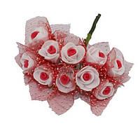 Розочки с фатином Бело-красные из фоамирана (латекса) на проволоке 2 см 10 шт/уп