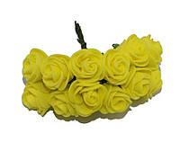 Розочки Желтые из фоамирана (латекса) на проволоке 2 см 12 шт/уп, фото 1