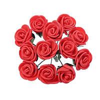 Розочки Красные из фоамирана (латекса) на проволоке 2 см 12 шт/уп