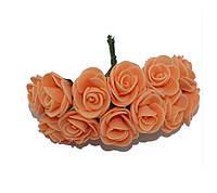 Розочки Персиковые из фоамирана (латекса) на проволоке 2 см 12 шт/уп