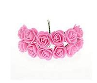Розочки Розовые из фоамирана (латекса) на проволоке 2 см 12 шт/уп