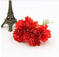 Астра Красная с матовыми тычинками из ткани диаметр 3.5 см 6 шт/уп
