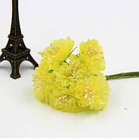 Астра Желтая с матовыми тычинками из ткани диаметр 3.5 см 6 шт/уп