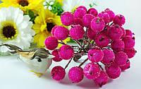 Ягоды калины в сахаре малинового цвета. Пучок 5 проволочек (10 ягод).