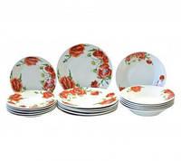 Набор столовой посуды Красные маки 18 предметов Оселя