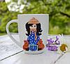 Подарочная чашка с декором из полимерной глины Подарок на день рождения девочке