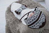 """Трикотажный конверт - плед для для новорожденных """"Изысканность"""" коричневый, фото 1"""