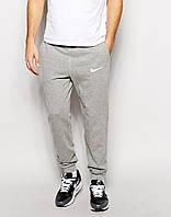 Мужские спортивные штаны Nike    Найк  серые галочка белая