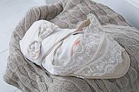 """Трикотажный конверт - плед для для новорожденных """"Изысканность"""" бежевый, фото 1"""