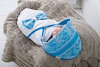 """Трикотажный конверт - плед для для новорожденных """"Изысканность"""" голубой, фото 1"""