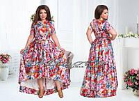 Летнее платье в пол Феерия Роз стрейч коттон (размеры 48-54)