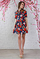 Платье из джинсовой ткани в цветочный принт