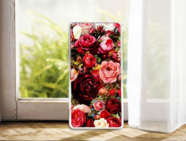 Силиконовый чехол бампер для Sony Xperia M4 Aqua / E2333 с картинкой розы