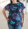 """Легкая женская футболка из вискозы """"Маки"""" от 52 до 60 размера"""
