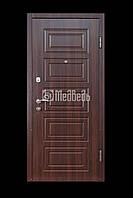 """Дверь входная """"МДФ/МДФ с 2-мя контурами орех темный"""" 850х2040 левая"""