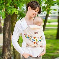 """Май слинг """"Листя"""" Лав & Carri для прогулянок жарким літом з натуральної тканини Діагонального плетіння Mei Tai"""