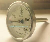 """Термометр для сауни PAKKENS Ø63мм, 0-200°С, з різьбою 1/2 """"біметалічний, осьовий"""