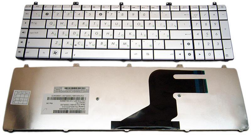 Клавиатура для ноутбука ASUS (N55, N75, X5QS) rus, silver (N75 version)