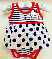 Боди - платье для девочки с принтом Hello Kitty 0-24 мес.