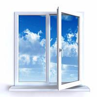 Окно металлопластиковое двухстворчатое 1300х1400 мм