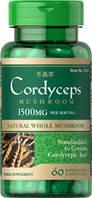 Кордицепс лечебные грибы, Cordyceps Mushroom, Puritan's Pride, 750 мг, 60 капсул